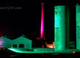 PORTLAND SILOS lit up for Lithglow